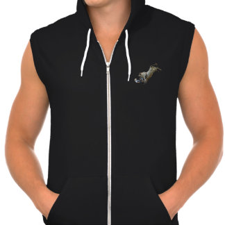 """Bull Riding Dump"" Fleece Sleeveless Zip Hoodie"
