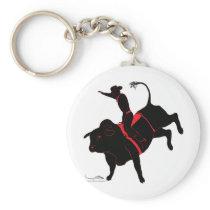 bull riding keychain