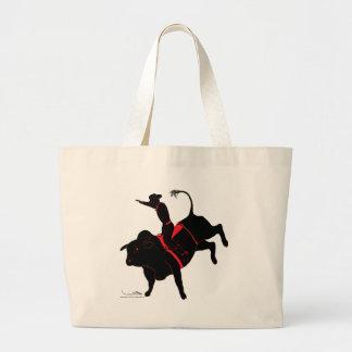 bull riding large tote bag