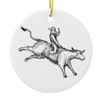 Bull Riding Rodeo Cowboy Drawing Ceramic Ornament