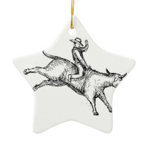 Bull Riding Rodeo Cowboy Drawing Ceramic Ornament