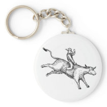 Bull Riding Rodeo Cowboy Drawing Keychain