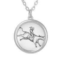Bull Riding Rodeo Cowboy Drawing Silver Plated Necklace