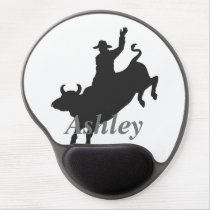 Bull riding silhouette gel mouse pad