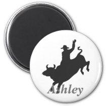 Bull riding silhouette magnet