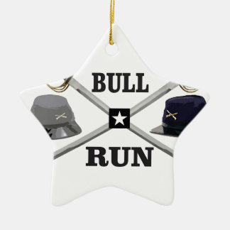 bull run blades crossed ceramic ornament