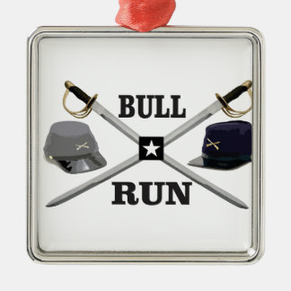 bull run blades crossed metal ornament