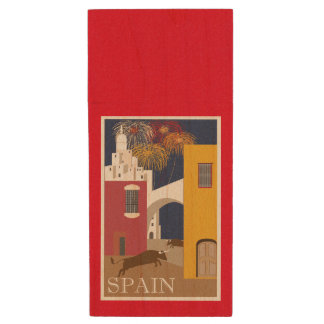 Bull Running in Spain Vintage Travel Poster Wood USB Flash Drive