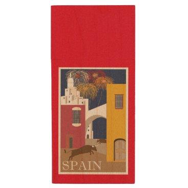 produkto Bull Running in Spain Vintage Travel Poster Wood USB Flash Drive