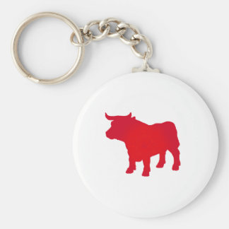 Bull see Red Basic Round Button Keychain