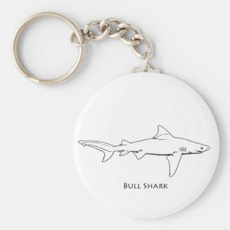 Bull Shark (line art) Basic Round Button Keychain