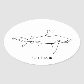 Bull Shark (line art) Oval Sticker