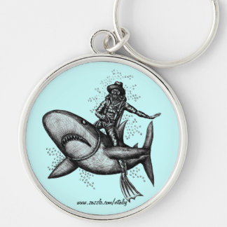 Bull shark riding funny pen ink drawing art keychain