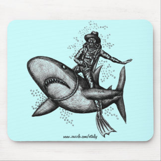 Bull shark riding funny pen ink drawing art mouse pad