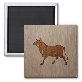Bull silhouette engraved on wood design 2 inch square magnet