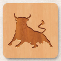 Bull silhouette engraved on wood design drink coaster