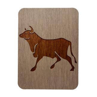 Bull silhouette engraved on wood design rectangular photo magnet
