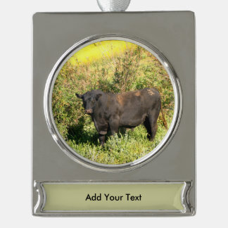 Bull Silver Plated Banner Ornament