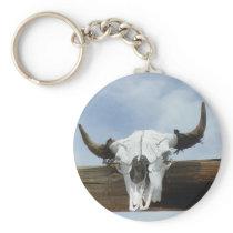 Bull Skull and Horns Keychain