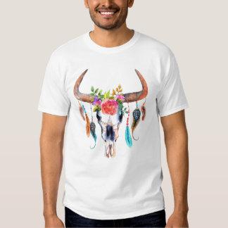 Bull Skull Flowers & Feather Watercolors T-Shirt