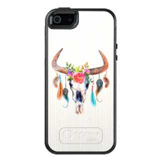 Bull Skull Head With Flowers OtterBox iPhone 5/5s/SE Case