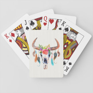 Bull Skull Horns And Flowers Playing Cards