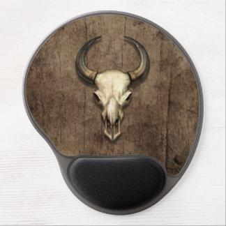 Bull Skull on Wood Grain Effect Gel Mouse Pad