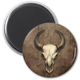 Bull Skull on Wood Grain Effect Refrigerator Magnet