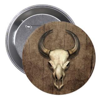 Bull Skull on Wood Grain Effect Pinback Button
