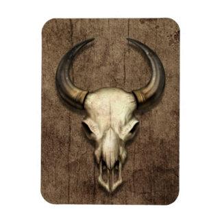 Bull Skull on Wood Grain Effect Flexible Magnet