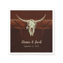 Bull Skull Wedding Brown Rustic Country Western Napkins