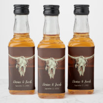Bull Skull Wedding Rustic Brown Country Western Liquor Bottle Label