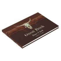 Bull Skull Wedding Western Brown Rustic Country Guest Book