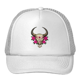 Bull Sugar Skull with Pink Roses Mesh Hats