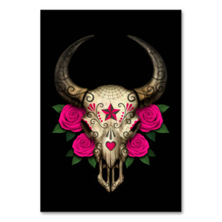 Bull Sugar Skull with Pink Roses on Black Card