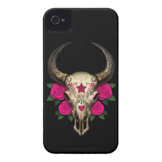 Bull Sugar Skull with Pink Roses on Black iPhone 4 Covers