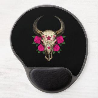 Bull Sugar Skull with Pink Roses on Black Gel Mousepad