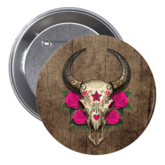 Bull Sugar Skull with Pink Roses on Wood Graphic Pins