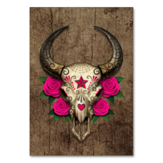 Bull Sugar Skull with Pink Roses on Wood Graphic Card