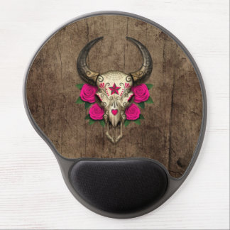 Bull Sugar Skull with Pink Roses on Wood Graphic Gel Mouse Pads