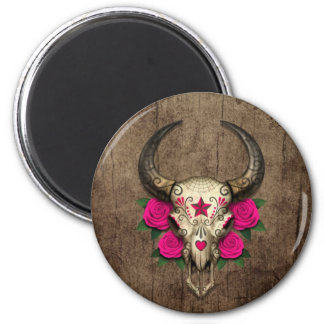 Bull Sugar Skull with Pink Roses on Wood Graphic Refrigerator Magnet