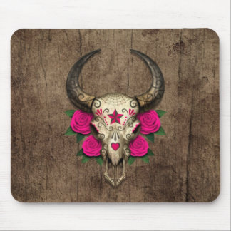 Bull Sugar Skull with Pink Roses on Wood Graphic Mousepads