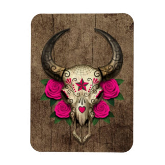 Bull Sugar Skull with Pink Roses on Wood Graphic Vinyl Magnet
