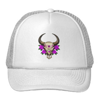 Bull Sugar Skull with Purple Roses Mesh Hats