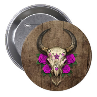 Bull Sugar Skull with Purple Roses on Wood Graphic Button
