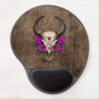Bull Sugar Skull with Purple Roses on Wood Graphic Gel Mouse Pad