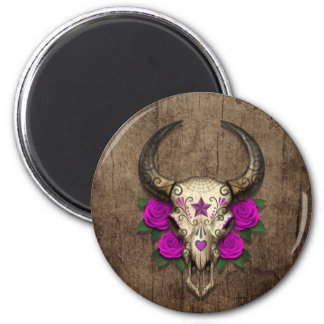Bull Sugar Skull with Purple Roses on Wood Graphic Magnet