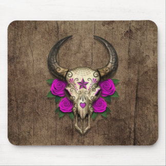 Bull Sugar Skull with Purple Roses on Wood Graphic Mousepads