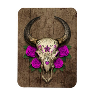 Bull Sugar Skull with Purple Roses on Wood Graphic Magnets