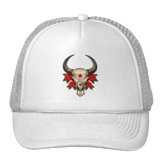 Bull Sugar Skull with Red Roses Hat